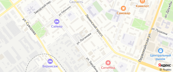 Улица Логинова на карте Йошкар-Олы с номерами домов