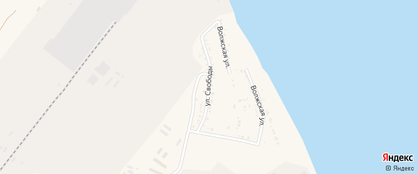 Улица Свободы на карте Волжского села Астраханской области с номерами домов