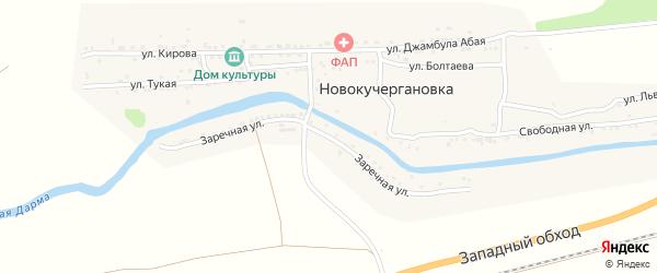 Заречная улица на карте села Новокучергановка Астраханской области с номерами домов