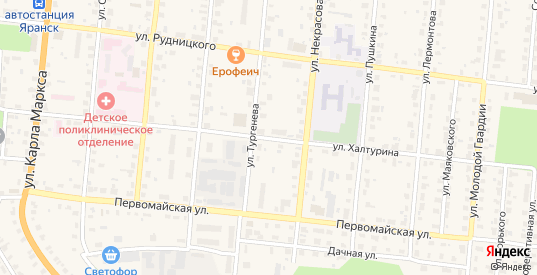 Улица Халтурина в Яранске с номерами домов на карте. Спутник и схема онлайн