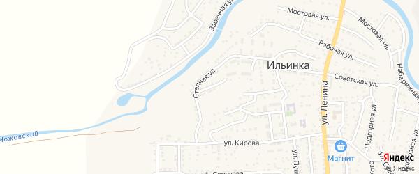 Восточная улица на карте поселка Ильинки Астраханской области с номерами домов