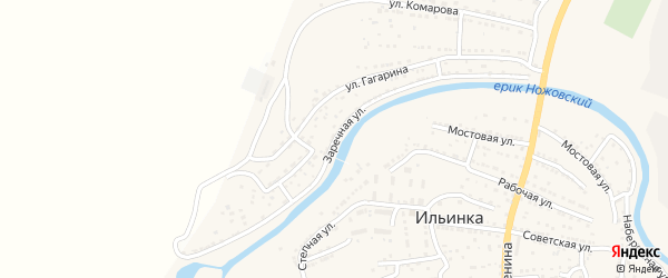 Заречная улица на карте поселка Ильинки Астраханской области с номерами домов