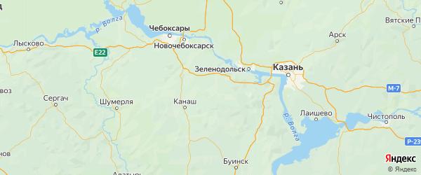 Карта Урмарского района Республики Чувашии с городами и населенными пунктами