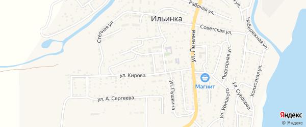 Улица Лермонтова на карте поселка Ильинки Астраханской области с номерами домов