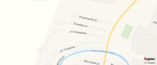 Улица Комарова на карте поселка Ильинки Астраханской области с номерами домов