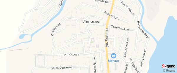 Улица Чкалова на карте поселка Ильинки Астраханской области с номерами домов