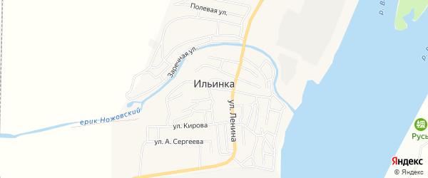 Карта поселка Ильинки в Астраханской области с улицами и номерами домов