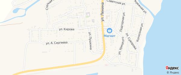 Улица Пушкина на карте поселка Ильинки Астраханской области с номерами домов