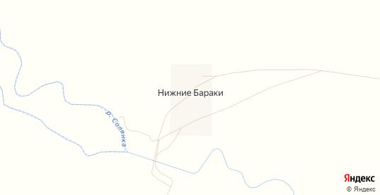 Карта хутора Нижние Бараки в Саратовской области с улицами, домами и почтовыми отделениями со спутника онлайн