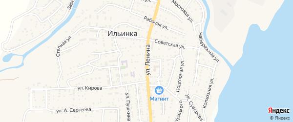 Улица Ленина на карте поселка Ильинки Астраханской области с номерами домов