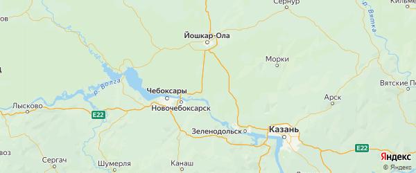 Карта Звениговского района Республики Марий Эл с городами и населенными пунктами