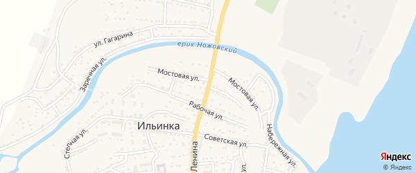 Мостовая улица на карте поселка Ильинки Астраханской области с номерами домов