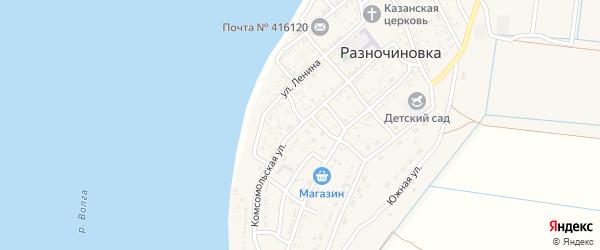 Комсомольская улица на карте села Разночиновки Астраханской области с номерами домов