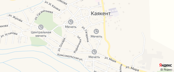 Улица Гагарина на карте села Каякента с номерами домов