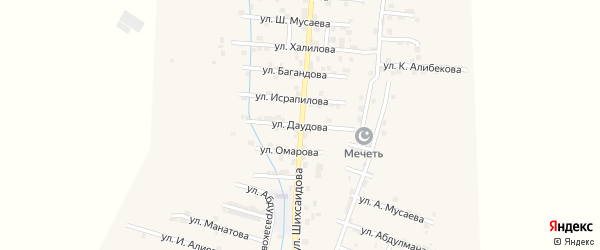 Улица Г.Даудова на карте села Каякента с номерами домов