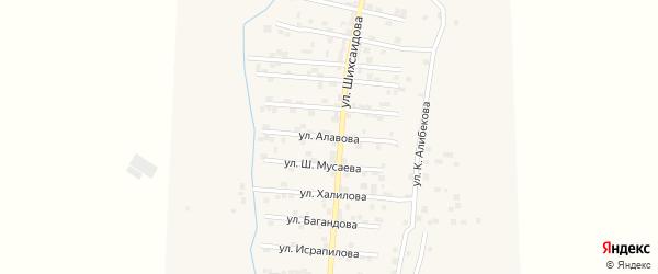 Улица Д.Алавова на карте села Каякента с номерами домов
