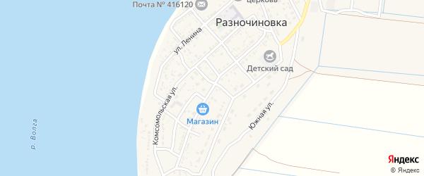 Переулок Р.Бикламбетова на карте села Разночиновки Астраханской области с номерами домов
