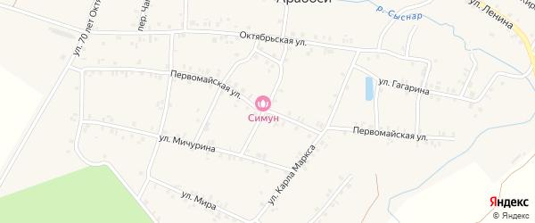 Первомайская улица на карте деревни Арабосей Чувашии с номерами домов