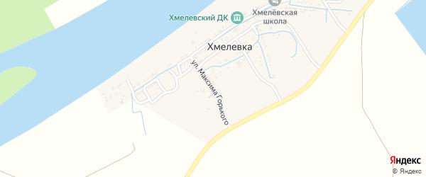 Улица Молодой Гвардии на карте села Хмелевки Астраханской области с номерами домов