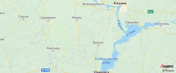 Карта Яльчикского района Республики Чувашии с городами и населенными пунктами