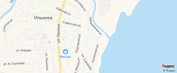 Комсомольская улица на карте поселка Ильинки Астраханской области с номерами домов