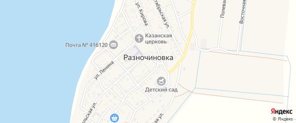 Переулок Тургенева на карте села Разночиновки Астраханской области с номерами домов