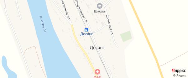 Железнодорожная улица на карте поселка Досанг Астраханской области с номерами домов