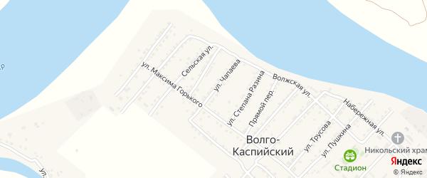 Улица Чапаева на карте Волго-Каспийского поселка Астраханской области с номерами домов