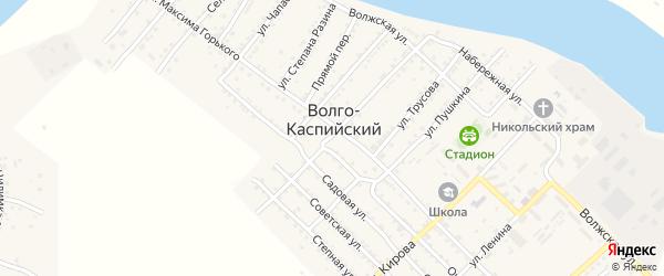Узенький переулок на карте Волго-Каспийского поселка Астраханской области с номерами домов