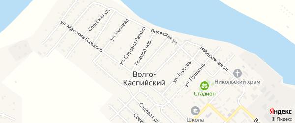 Пионерская улица на карте Волго-Каспийского поселка Астраханской области с номерами домов