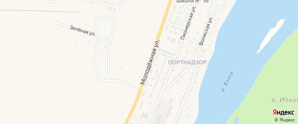 Молодежная улица на карте поселка Ильинки Астраханской области с номерами домов