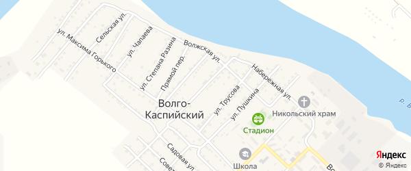 Комсомольская улица на карте Волго-Каспийского поселка Астраханской области с номерами домов