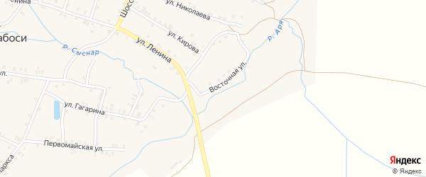 Восточная улица на карте деревни Арабосей Чувашии с номерами домов