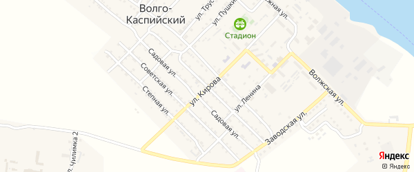 Октябрьская улица на карте Волго-Каспийского поселка Астраханской области с номерами домов