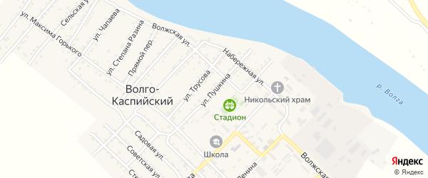 Улица Пушкина на карте Волго-Каспийского поселка Астраханской области с номерами домов