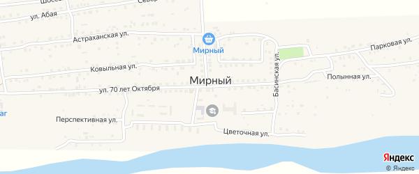 Центральная улица на карте Мирного поселка Астраханской области с номерами домов