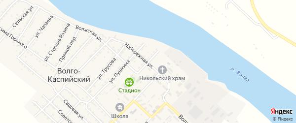 Улица Калинина на карте Волго-Каспийского поселка Астраханской области с номерами домов