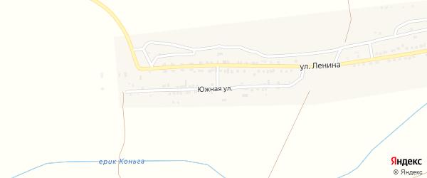 Южная улица на карте села Старокучергановка Астраханской области с номерами домов