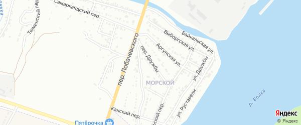 Переулок Дружбы на карте Астрахани с номерами домов