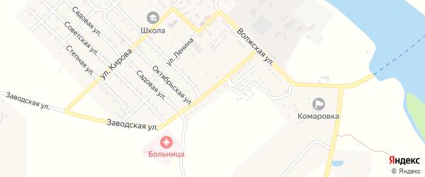 Заводская улица на карте Волго-Каспийского поселка Астраханской области с номерами домов