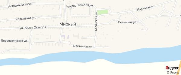 Вязниковская улица на карте Мирного поселка Астраханской области с номерами домов