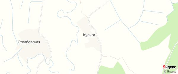 Карта деревни Кулиги в Архангельской области с улицами и номерами домов
