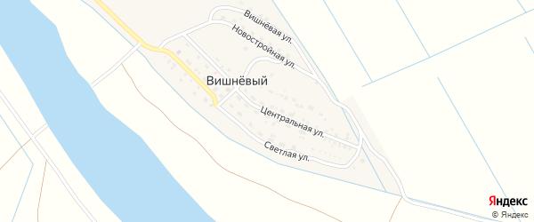 Центральная улица на карте Вишневого поселка Астраханской области с номерами домов