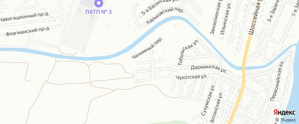 Чилимный 1-й переулок на карте Астрахани с номерами домов