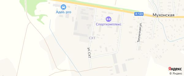 Улица СХТ на карте Мухонской деревни Архангельской области с номерами домов