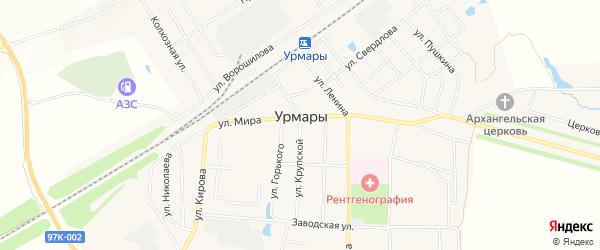 Территория ДПМК на карте поселка Урмары с номерами домов