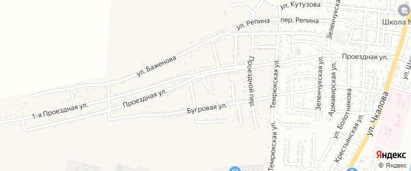 Проездной 2-й переулок на карте села Старокучергановка Астраханской области с номерами домов