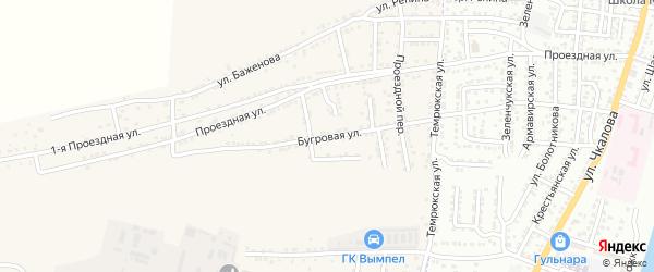 Бугровая улица на карте села Старокучергановка Астраханской области с номерами домов