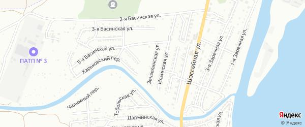 Зензелинская улица на карте Астрахани с номерами домов