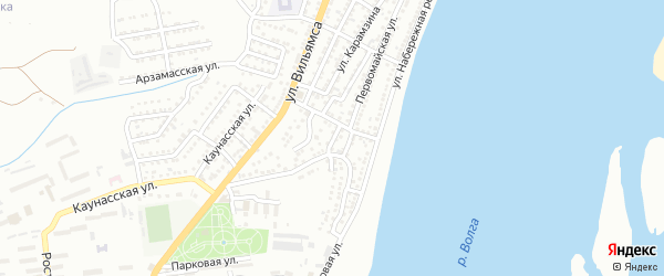 Поперечный 2-й переулок на карте Астрахани с номерами домов